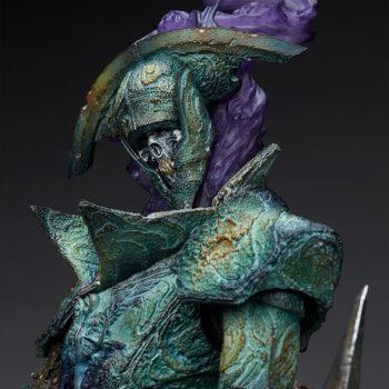 Oathbreaker Strÿfe Fallen Mortis Knight Premium Format Figure close up on head and flaming purple dreadsgrip etherea