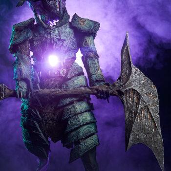Oathbreaker Strÿfe Fallen Mortis Knight Premium Format Figure full view in fog and purple dreadsgrip