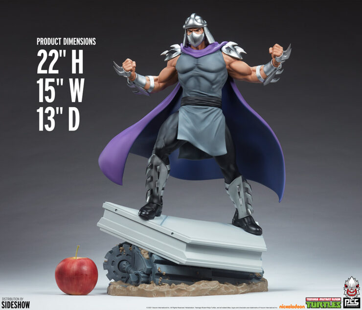 Shredder Fourth Scale StatueTeenage Mutant Ninja Turtle collectibles Size Comparison with apple