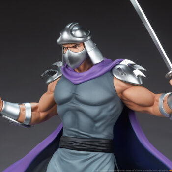 Shredder Fourth Scale StatueTeenage Mutant Ninja Turtle collectibles Sword and Communicator in hand mid view
