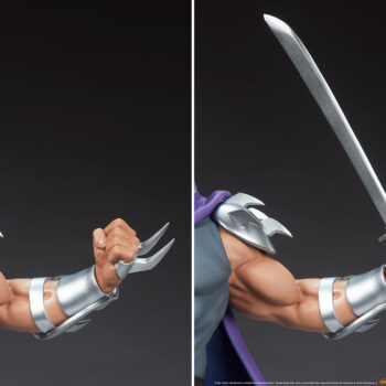 Shredder Fourth Scale StatueTeenage Mutant Ninja Turtle collectibles Close up on swap out sword and slashers