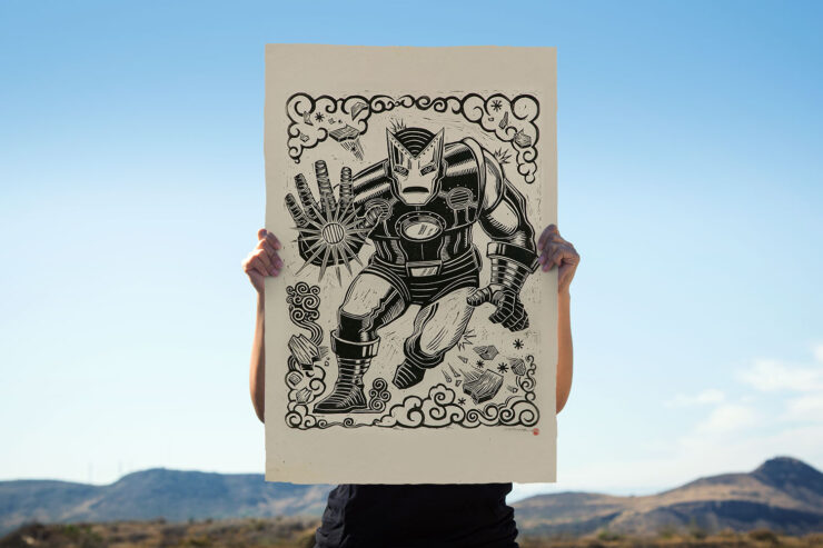 The Iron Man Linocut on Lokta Paper by Artist Peter Santa-Maria