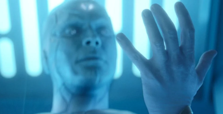 White Vision looking at his hand