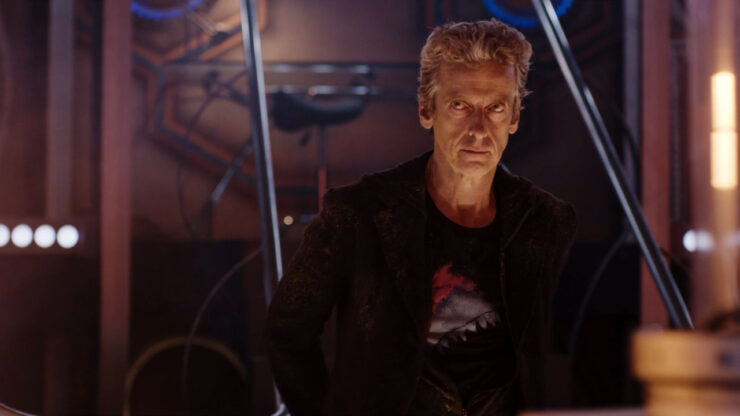 Still of Peter Capaldi as the 12th Doctor in Doctor Who.