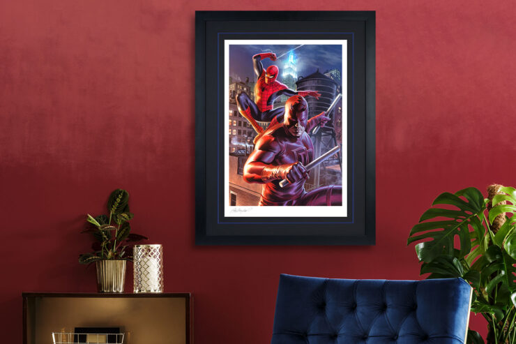 Daredevil and Spider-Man Fine Art Print Felipe Massafera Black Frame