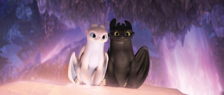Toothless and the Light Fury in The Hidden World