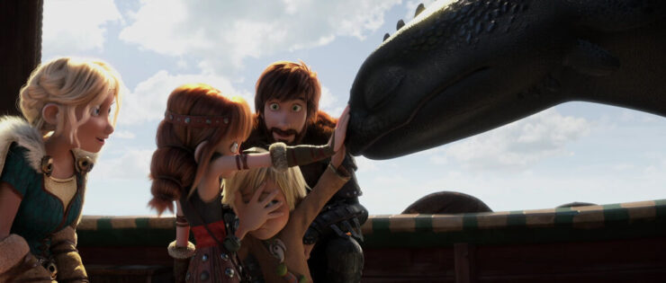 Hiccup's family meets Toothless