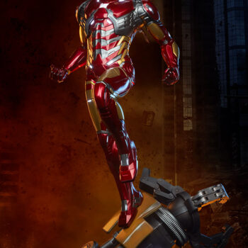 left view of exclusive Iron Man Third Scale Statue with city background