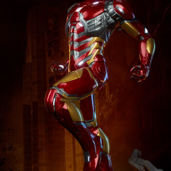 left quarter side of exclusive Iron Man Third Scale Statue with city background