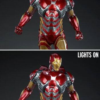 lights on and off comp arison of exclusive Iron Man Third Scale Statue