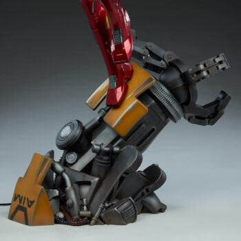 left close up of base on Iron Man Third Scale Statue