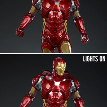 lights on and off comparison of Iron Man Third Scale Statue