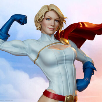 Power Girl Premium Format Figure flexing with sky background