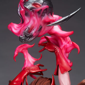 Scarlet Witch Premium Format Figure close up on ultron head