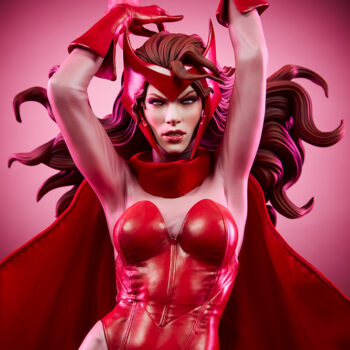 Scarlet Witch Premium Format Figure close up front view with pink background