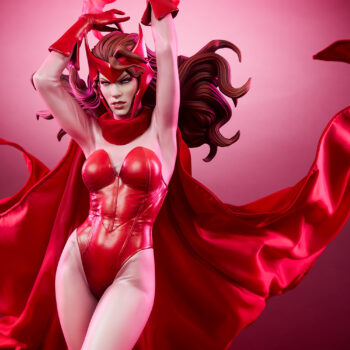 Looking up at the Scarlet Witch Premium Format Figure with pink background