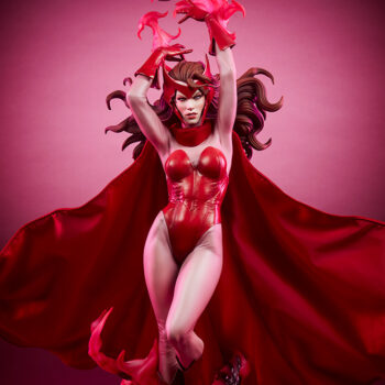 Scarlet Witch Premium Format Figure close up view with pink background