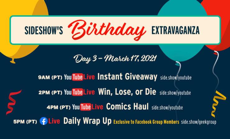Sideshow Birthday Day 3 Schedule