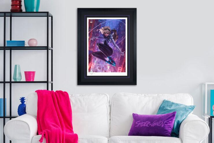 Spider-Gwen Unmasked Variant Fine Art Print Jeehyung Lee Black Frame