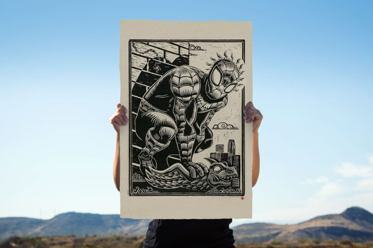 The Spider-Man Linocut on Lokta Paper by Artist Peter Santa-Maria
