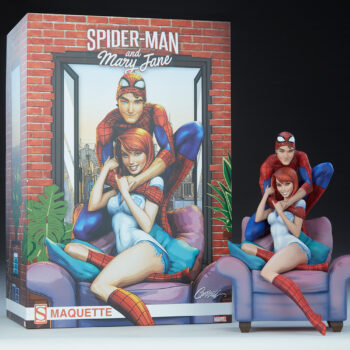 Spider-Man and Mary Jane Maquette next to the box