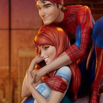 Left Side Close Up of the Spider-Man and Mary Jane Maquette with their living room in the background