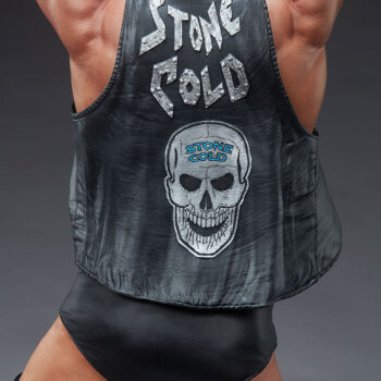 Stone Cold Steve Austin Quarter Scale Statue close up on jacket that reads stone cold with skull