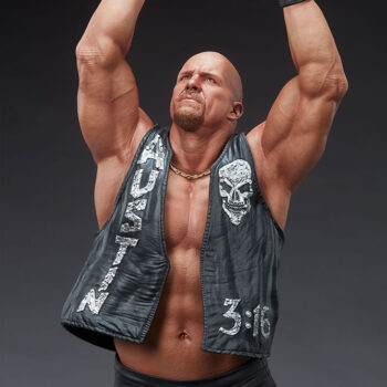 Stone Cold Steve Austin Quarter Scale Statue Front View Close Up on Upper Body