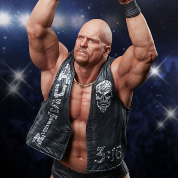 Close Up Looking down on Stone Cold Steve Austin Quarter Scale Statue with Stadium Background