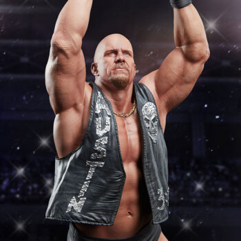 Right Quarter View Close Up on Stone Cold Steve Austin Quarter Scale Statue with Stadium Background