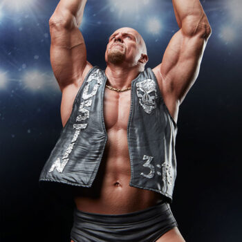 Upper Body Close Up on Stone Cold Steve Austin Quarter Scale Statue with Stadium Background
