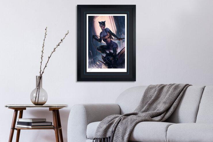 The Catwoman Variant Fine Art Print by Artist Heon-hwa Choe, aka Kilart Black Frame in a living room