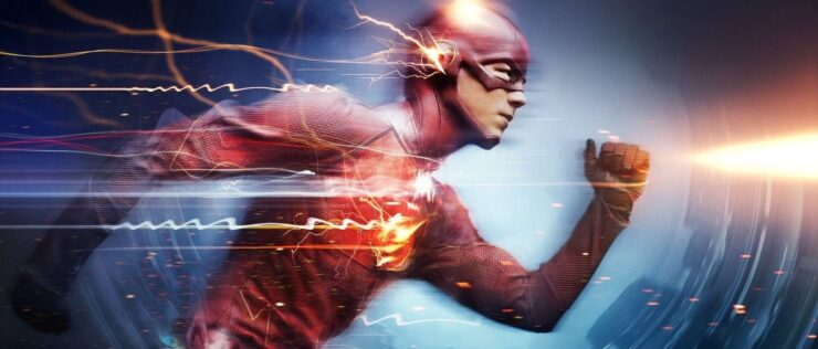 The Flash Running with lightning crackling off him