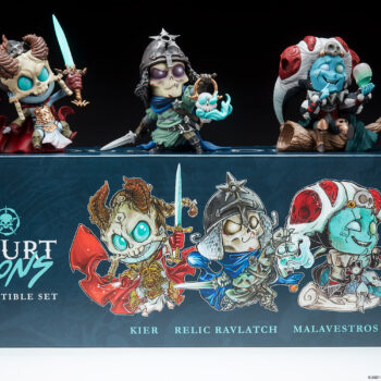 The Court-Toons Collectible Statue Set on top of their box