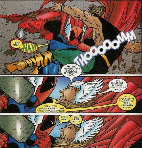 Deadpool Fighting Thor