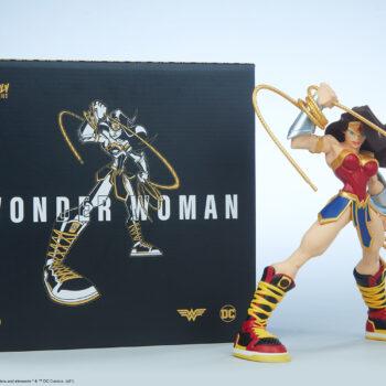 Wonder Woman Designer Collectible Toyby Artist Tracy Tubera next to Box