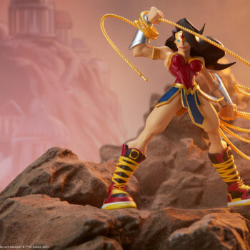 Wonder Woman Designer Collectible Toyby Artist Tracy Tubera Full View On Mountain Side with mountain background