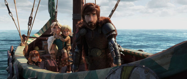 Hiccup, Astrid, and kids in The Hidden World