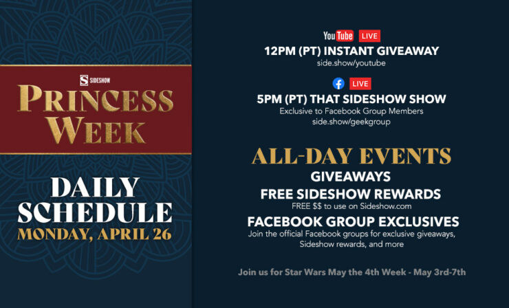 Monday, April 26 12 PM:Instant Giveaway 5 PM:That Sideshow Show *exclusively in the Let Your Geek Sideshow Facebook Group