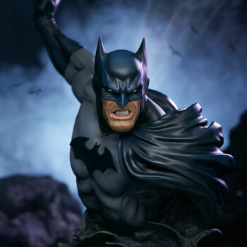 full front view of Batman Bust with smoke in background