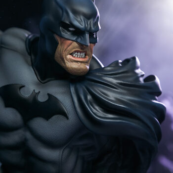 right side close up of Batman Bust with smoke in background