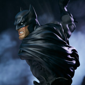 Left side of Batman Bust with smoke in background