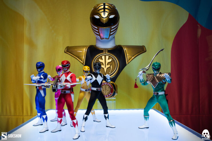 Core Rangers + Green Ranger Six Pack Collectible Set Threezero with White Ranger Life Sized Bust by PCS