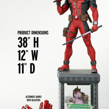 Deadpool Third Scale Statue with apple size comparison
