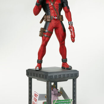 full front view of Deadpool Third Scale Statue turned slightly right