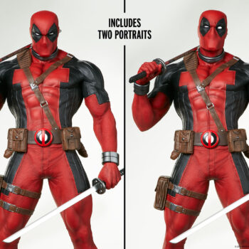 separate portraits of Deadpool Third Scale Statue