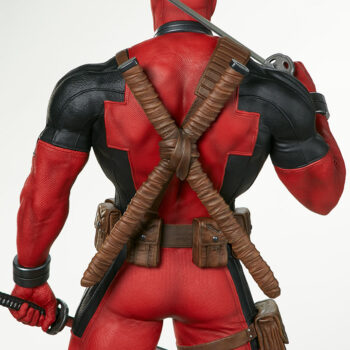 close up on back of Deadpool Third Scale Statue with sword