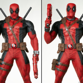 switched out portraits of Deadpool Third Scale Statue
