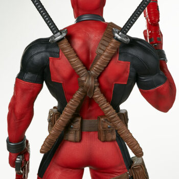 close up on back of Deadpool Third Scale Statue with water gun