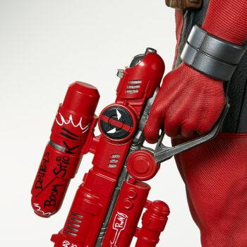 close up on outside of left gun from Deadpool Third Scale Statue